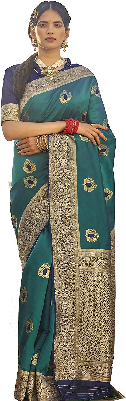 Indian Decor & Attire Rich Gold Zari Booti Work South Banarasi Silk Pattu Saree with Unstitched Blouse Piece (SHEFALI-F, Green)