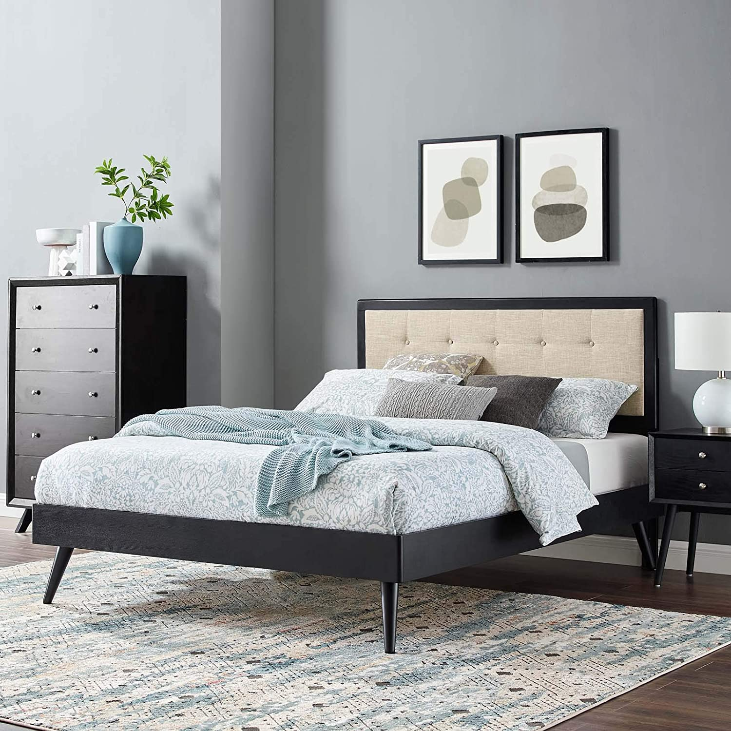 Modway Willow Wood King Platform Bed in Black Beige with Splayed Legs