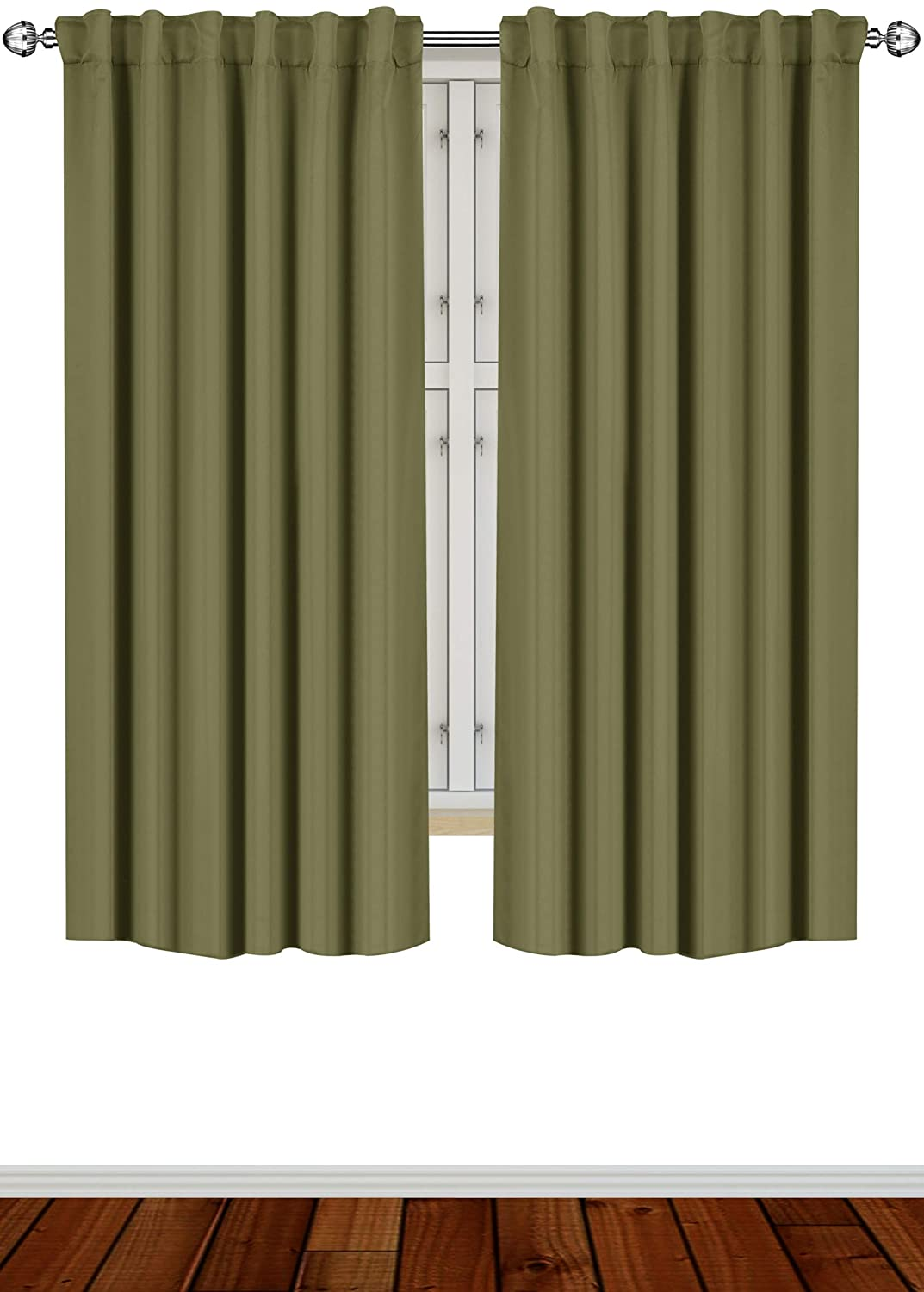 Utopia Bedding 2 Panels Blackout Curtains, W52 x L63 Inches, Olive, Thermal Insulated Window Draperies - 7 Back Loops per Panel - 2 Tie Backs Included