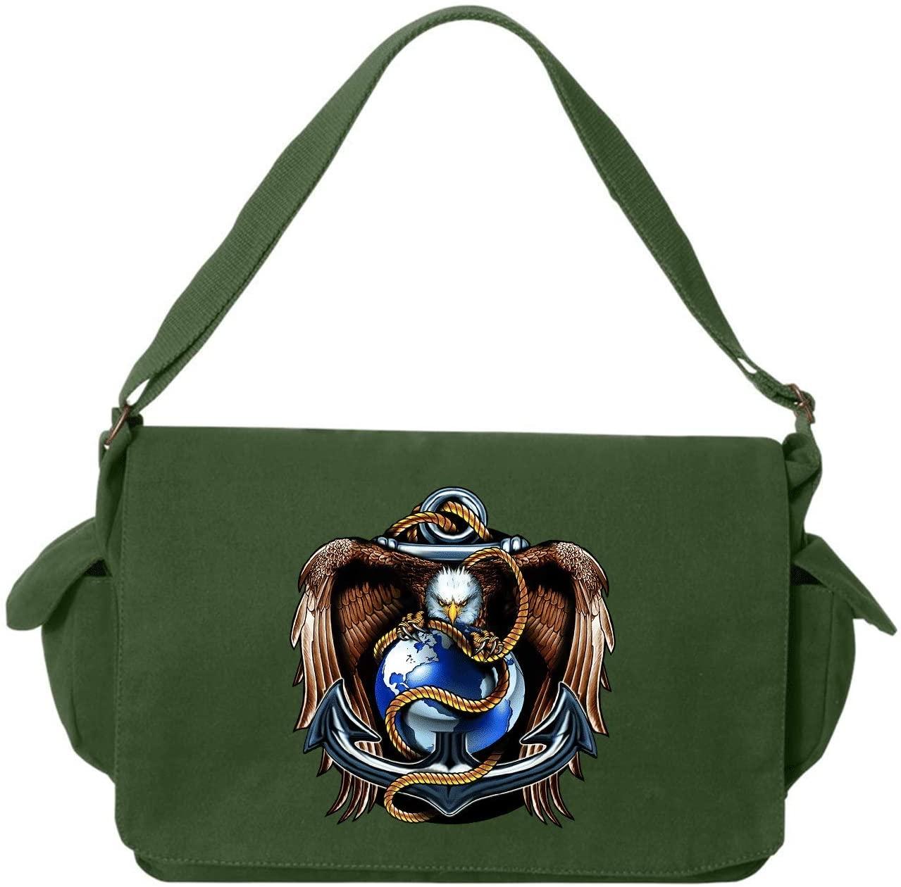 HARD EDGE DESIGN Eagle, Globe, Anchor Green Brushed Canvas Messenger Bag