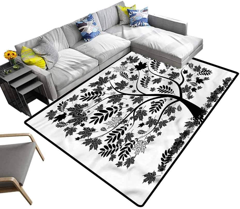 Tree, Living Room Carpets Maple Canadian Indigenous Tree Kids Playing Mat with No-Slip pad, 4'x 6'