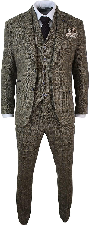CAVANI Mens 3 Piece Classic Tweed Herringbone Check Tan Brown Slim Fit Vintage Suit tan 36