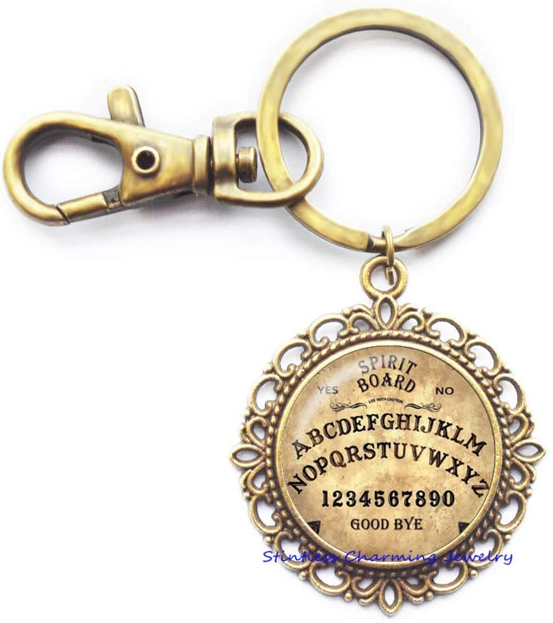 Ouija Board Keychain-Custom Ouija Board Key Ring-Halloween Keychain-Spirit Board-Halloween Art Key Ring-JV377