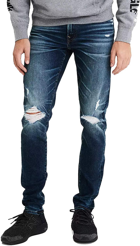 American Eagle Men's 05214853 Airflex+Skinny Jeans, Destroyed Dark Wash