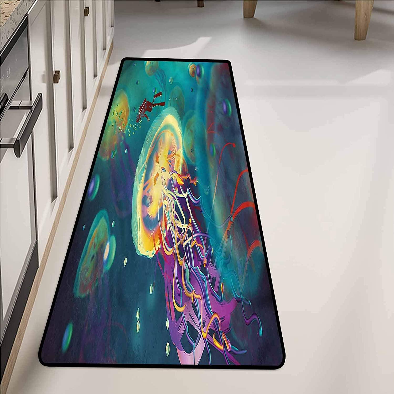 Kitchen Drying Mat 20 x 48 Inch, Fantasy Submarine Jellyfish Washable Area Rugs