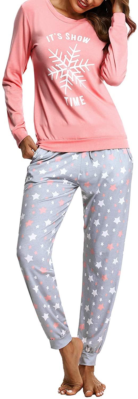 Womens Casual Pajamas Set Cotton Long Sleeve Sleepwear Star Print Bottom Nightwear Soft Drawstring Pjs Lounge Sets