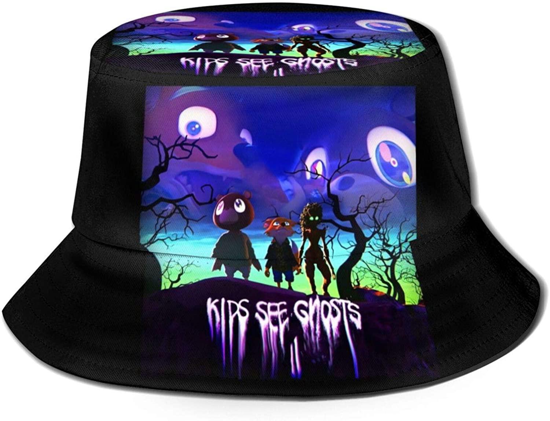 Majunnn Kids See Ghosts Kid-Cudi Cool Summer Breathable Bucket Hat Fisherman Hat Unisex