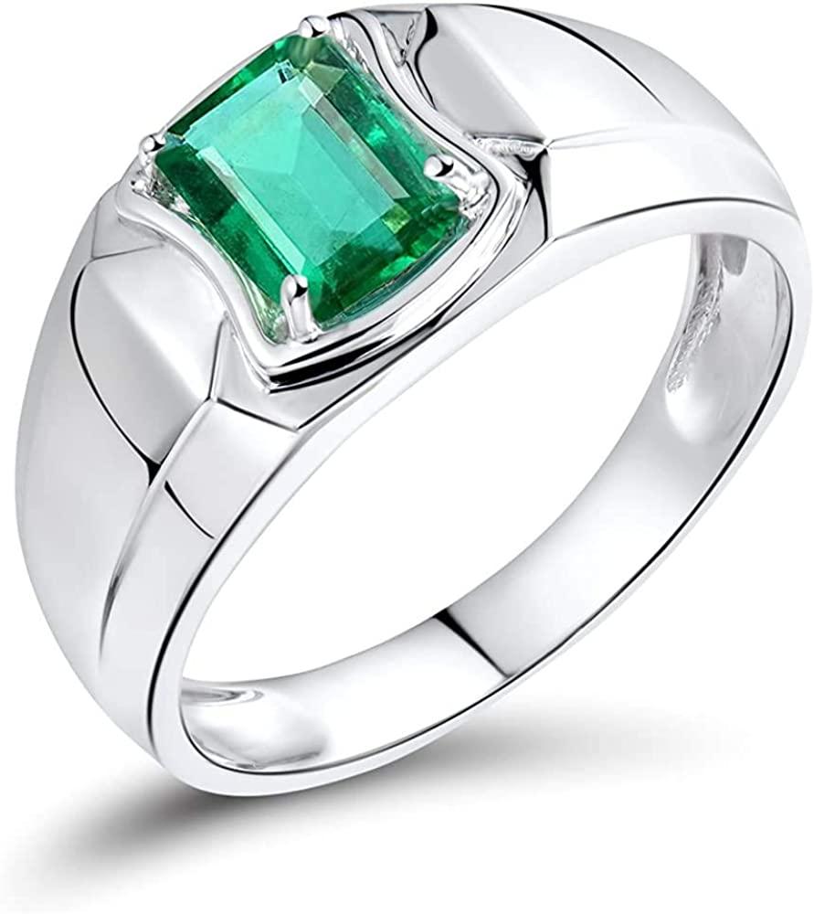 YONG SI Genuine Emerald Diamond Engagement Men Ring in 14K White Gold