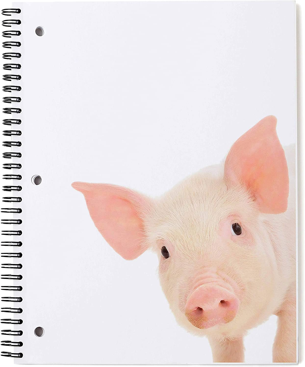Piggy Pig Spiral Notebook - 1 Subject, Wide Rule, 70 Sheets - Glossy Cover with Quality Paper - 6 Cute, Modern, Fun Animal Note Books Available