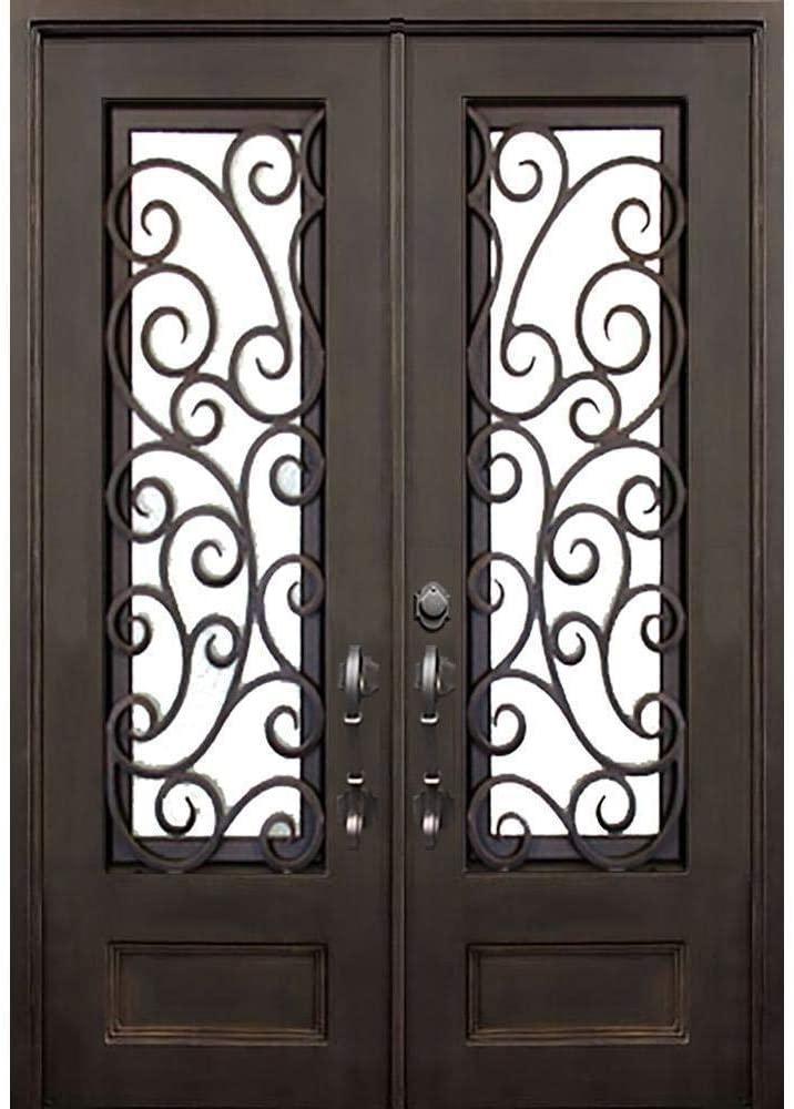 Windham 73.5x96 Flat Top Iron Door, Easy Clean Glass