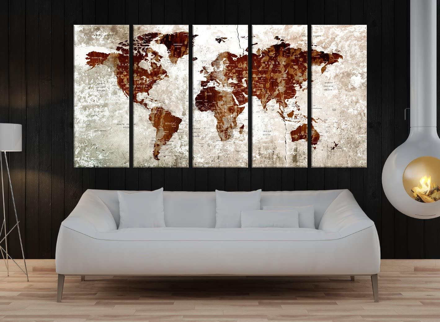 Large Wall Art, Push pin World Atlas Map Art Canvas print, Push pin Travel Map Wall Art, Large print, Artistic Wall Decor, Home and office wall decal, Bedroom Wall art decor, modern Wall Art k750
