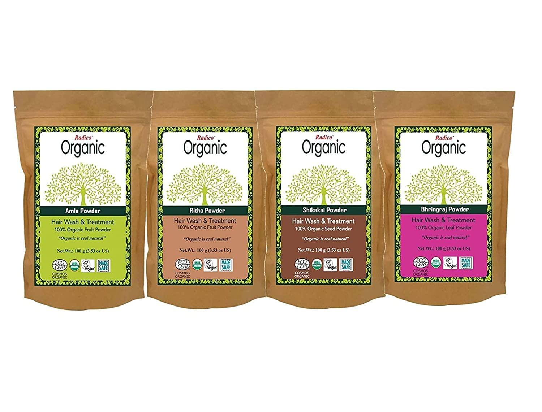 (Combo Pack) Radico 100% OrganIC Amla + Ritha + Shikakai + Bhringraj Powder - 100 gm