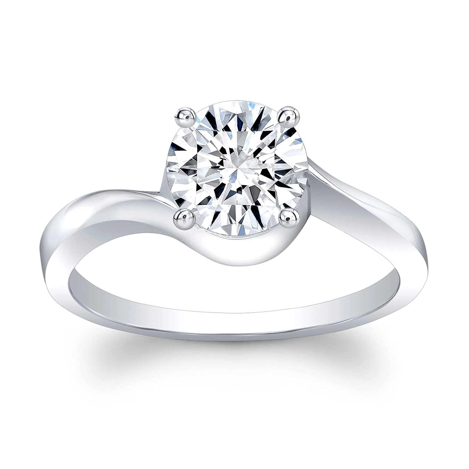 Moissanite 5 carat engagement ring 18 karat white gold Round Brilliant solitaire in 4-prong setting