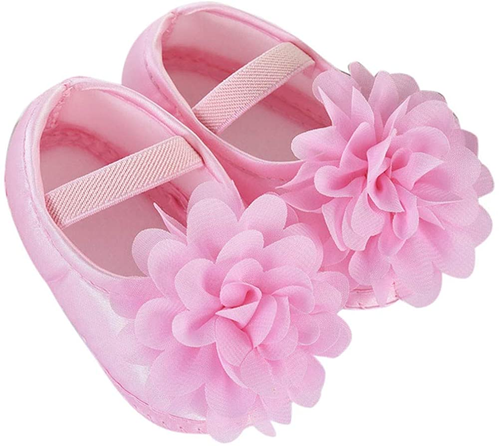 WEUIE Baby Infant Girls Soft Sole Floral Princess Mary Jane Flats Toddler First Walkers Prewalker Wedding Dress Shoes