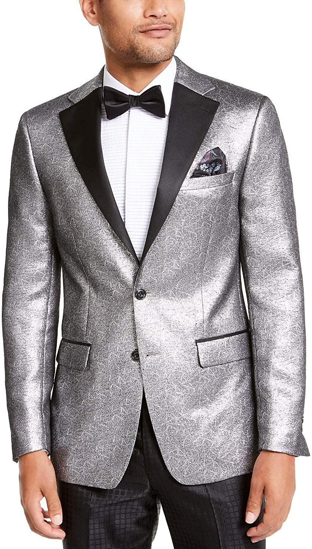 Tallia Men's Slim-Fit Silver Metallic Dinner Jacket Silver 2XL