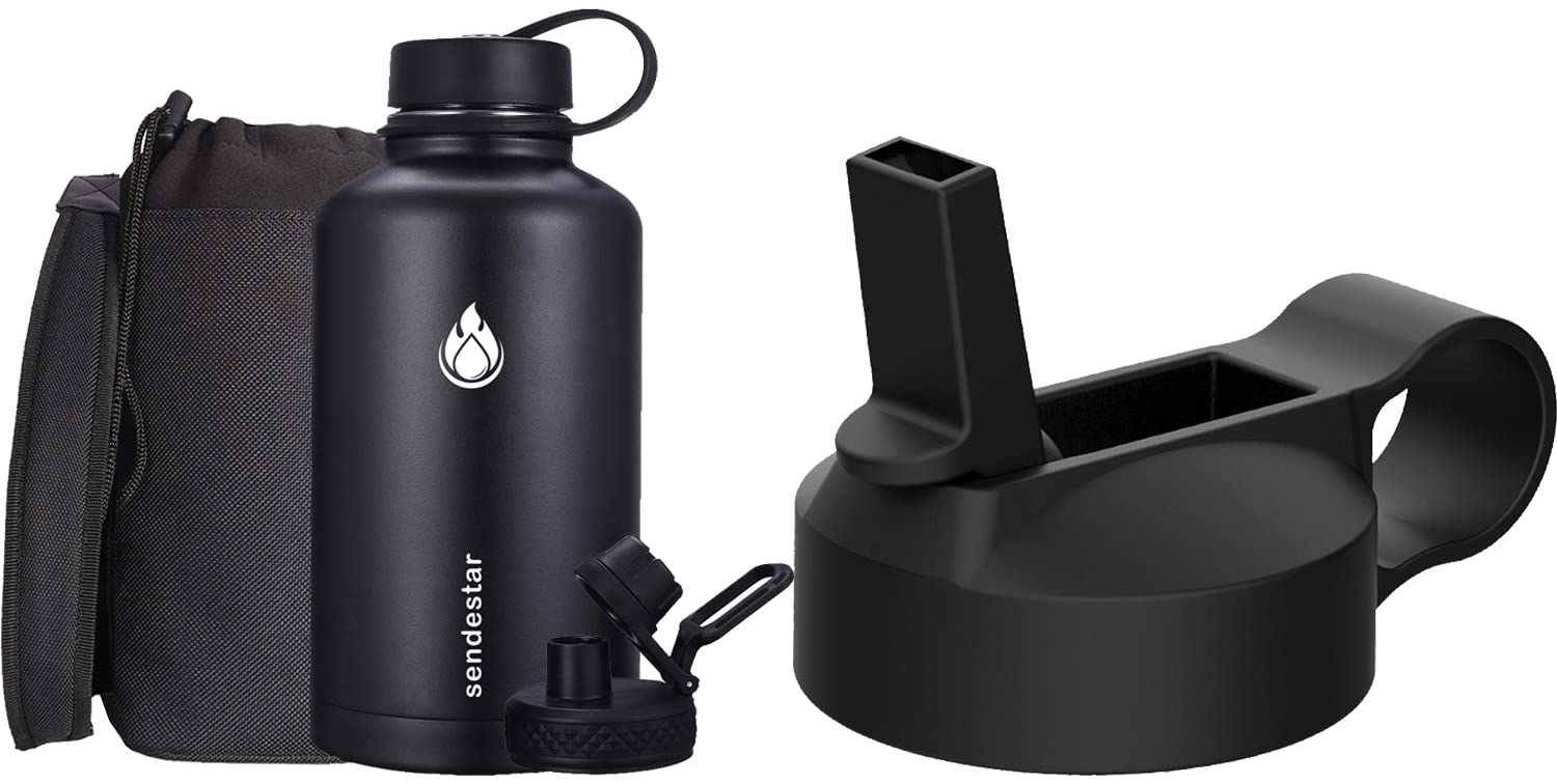 SENDESTAR 64OZ Water Bottle with Spout Lid & Sport Lid + Straw lid for wide mouth hydroflask bottles, Vacuum Insulated 18/8 Stainless Steel