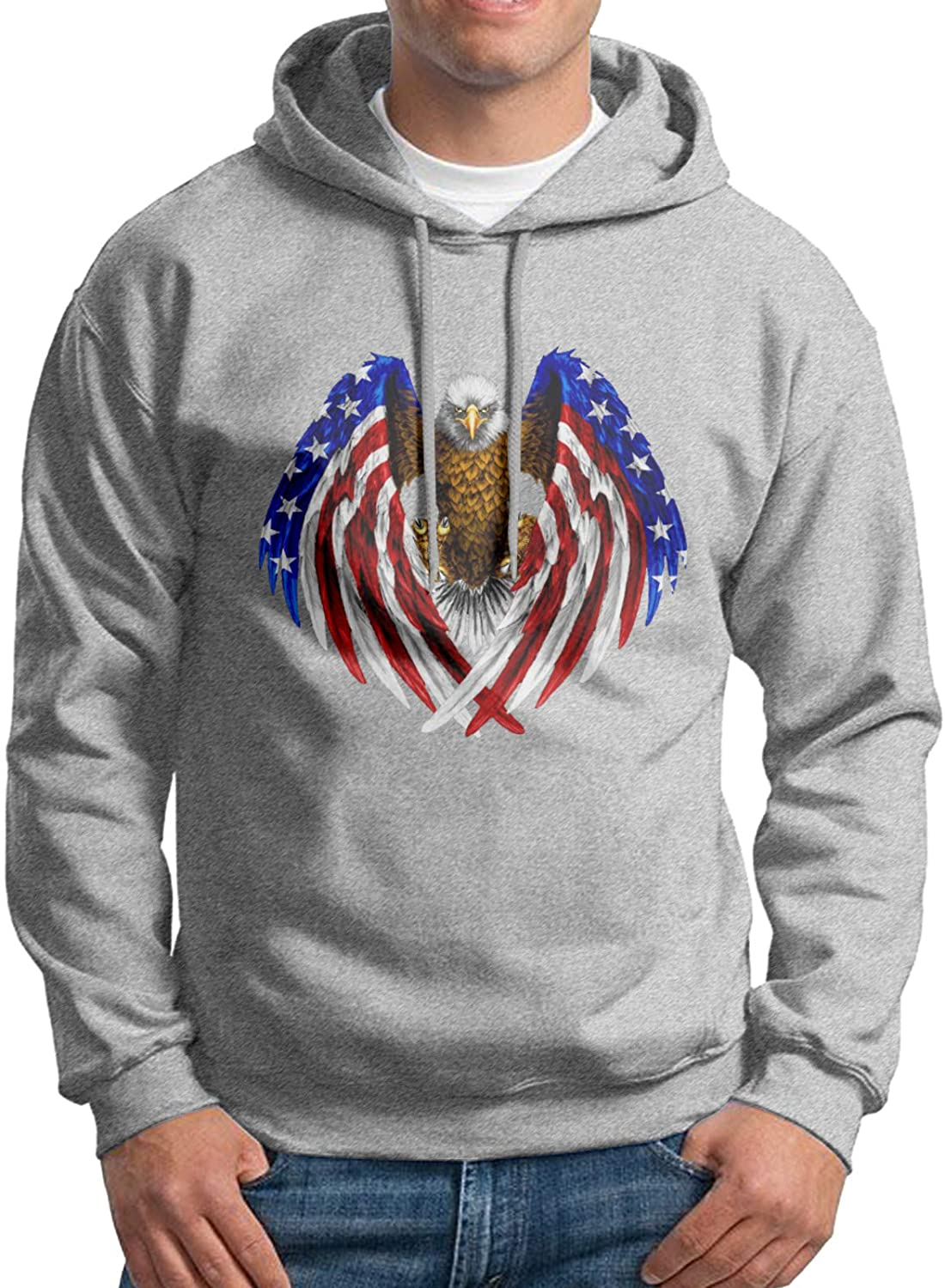 Men's Pullover Hoodie Sweatshirt America USA Flag with Eagle Up to Size 3XL-Black