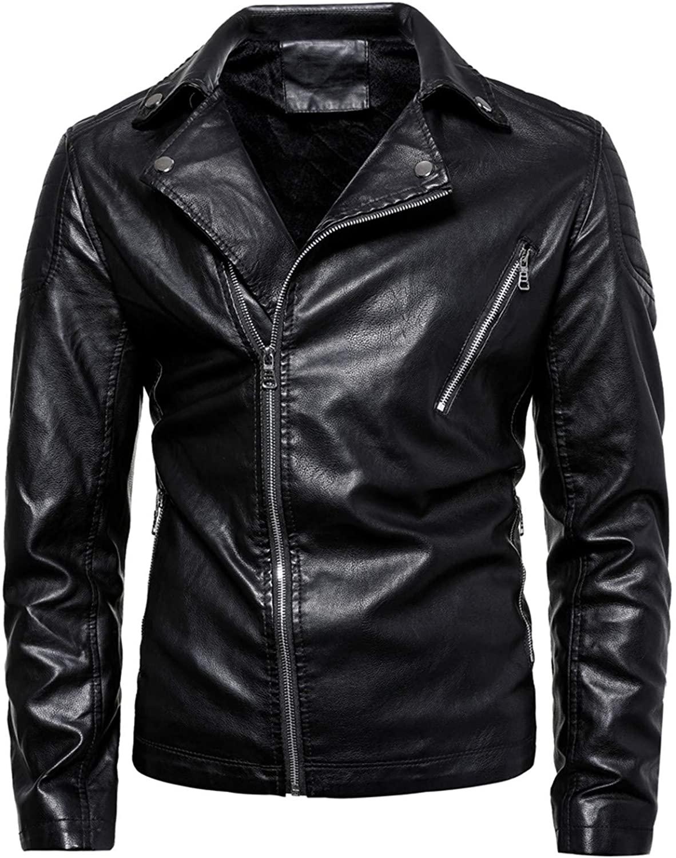 Mens Moto Biker Jacket Faux Leather Motorcycle Coat Zip Classic Collar Keep Warm Autumn Winter Overcoat Outwear