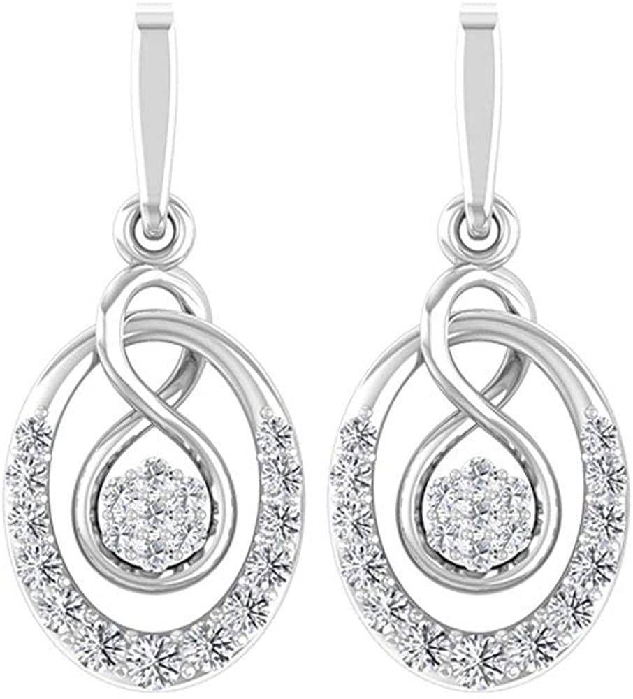 Infinity Drop Earring, HI-SI Round Diamond Earring, Classic Wedding Earring, Eternity Dangle Earring, Statement Earring, Women Promise Earring, Screw back