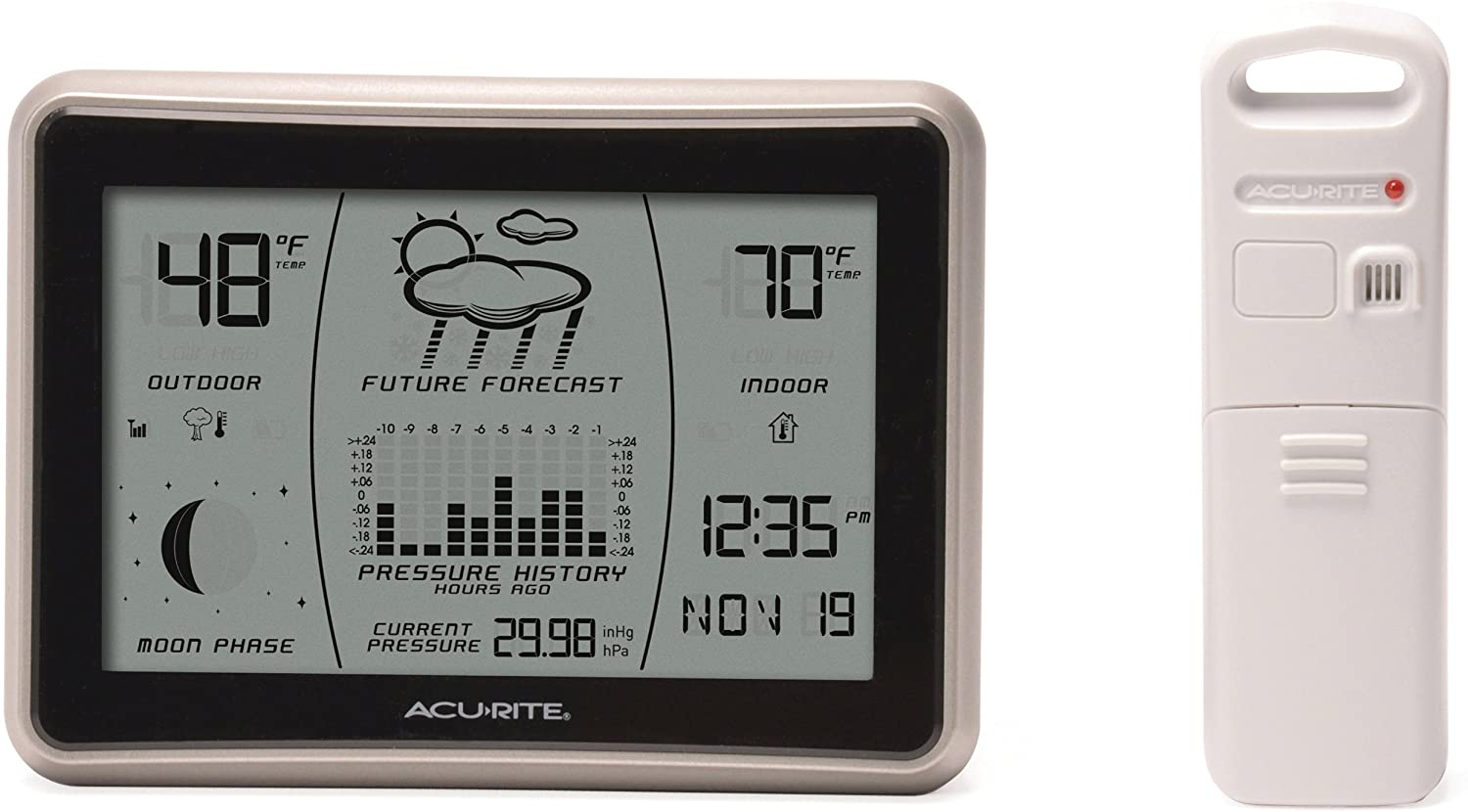 AcuRite Wireless Weather Forecaster with Intelli-Time, Gray with Silver Bezel
