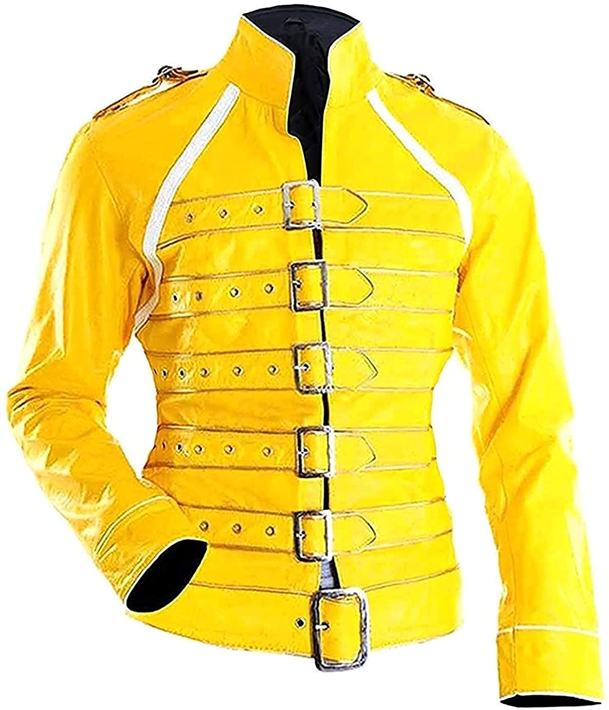 Tipsy Fashions Freddie Mercury Concert Yellow Faux Leather Costume's Jacket for Women