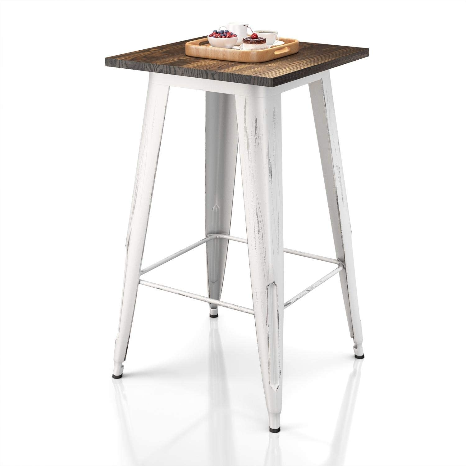VIPEK Heavy-Duty Bar Table with Solid Wood Top Metal Table 23.6