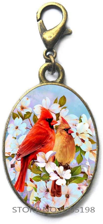 Cardinal Memorial Red Bird Lobster Clasp Zipper Pull Jewelry Glass Art Handmade Lobster Clasp Zipper Pull,Christmas Cardinal, Red Cardinal Bird,N176