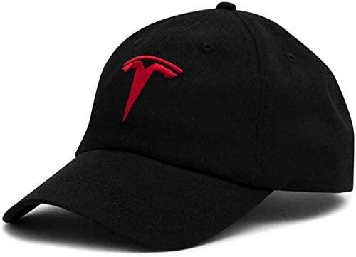 Tesla Logo Sports Baseball Adjustable Cap, Black + Red, One Size