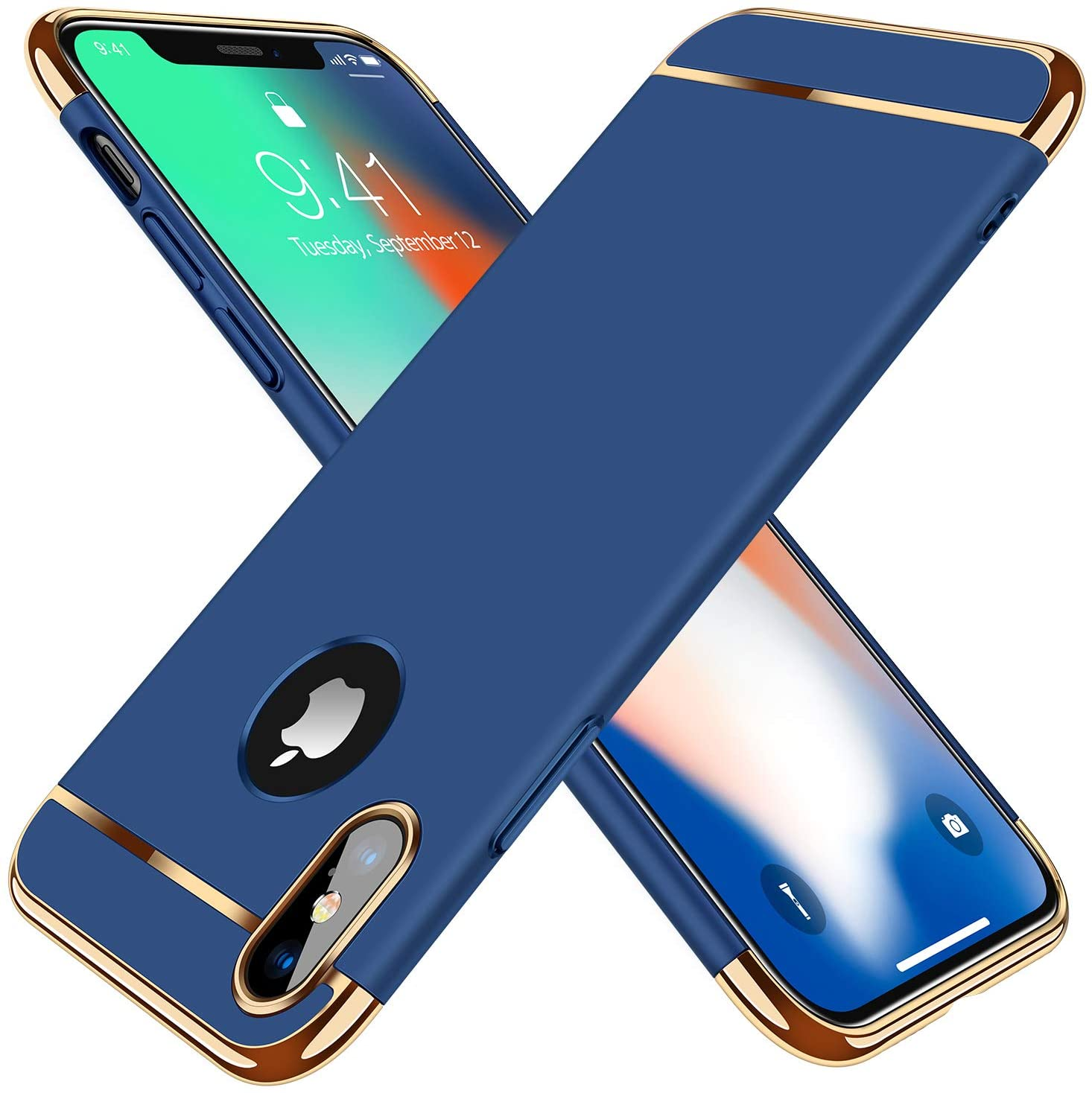 TORRAS Lock Series iPhone X Case/iPhone Xs Case 3-in-1 Luxury [3rd Generation] Anti-Scratch Hard Cover with Electroplated Frame Case for iPhone Xs/X, Blue