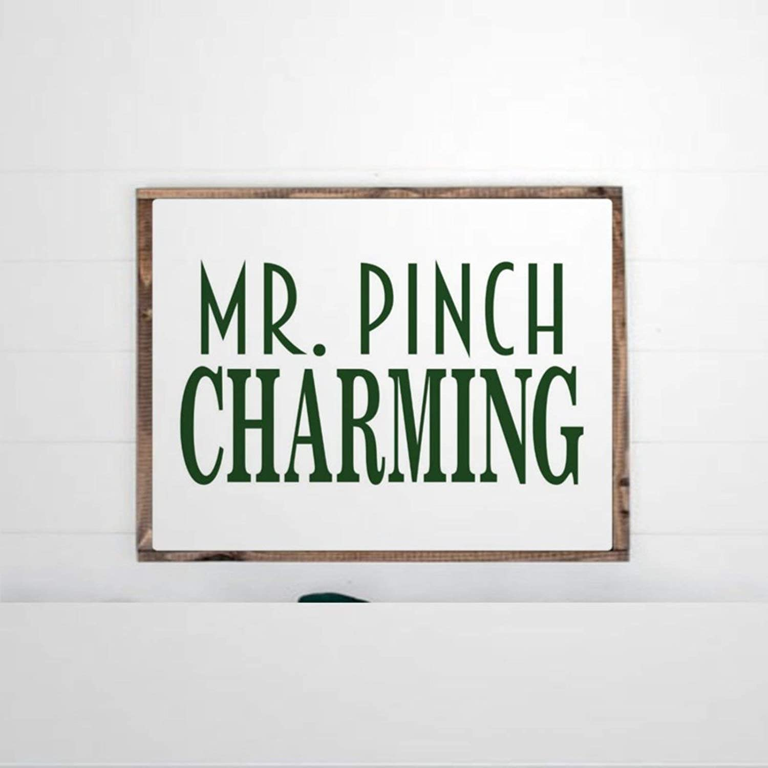 DONL9BAUER Mr Pinch Charming St Patricks Day Framed Wooden Sign,Saint Lucky Charm Wood Wall Decor Sign, Farmhouse Wooden Plaque Art for Home,Gardens, Porch, Gallery Wall, Coffee Shops.