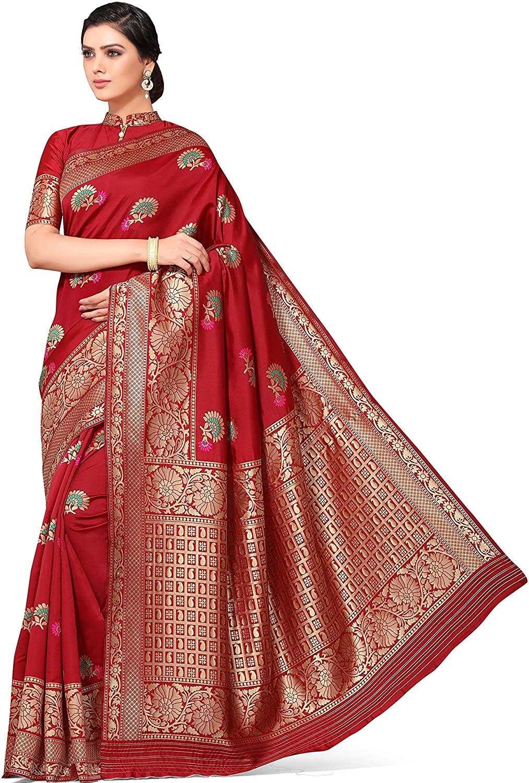 Heavy Gold Zari Woven Booti Banarasi Art Silk Saree with Unstiched Blouse (SUHAGAN-B, Maroon)