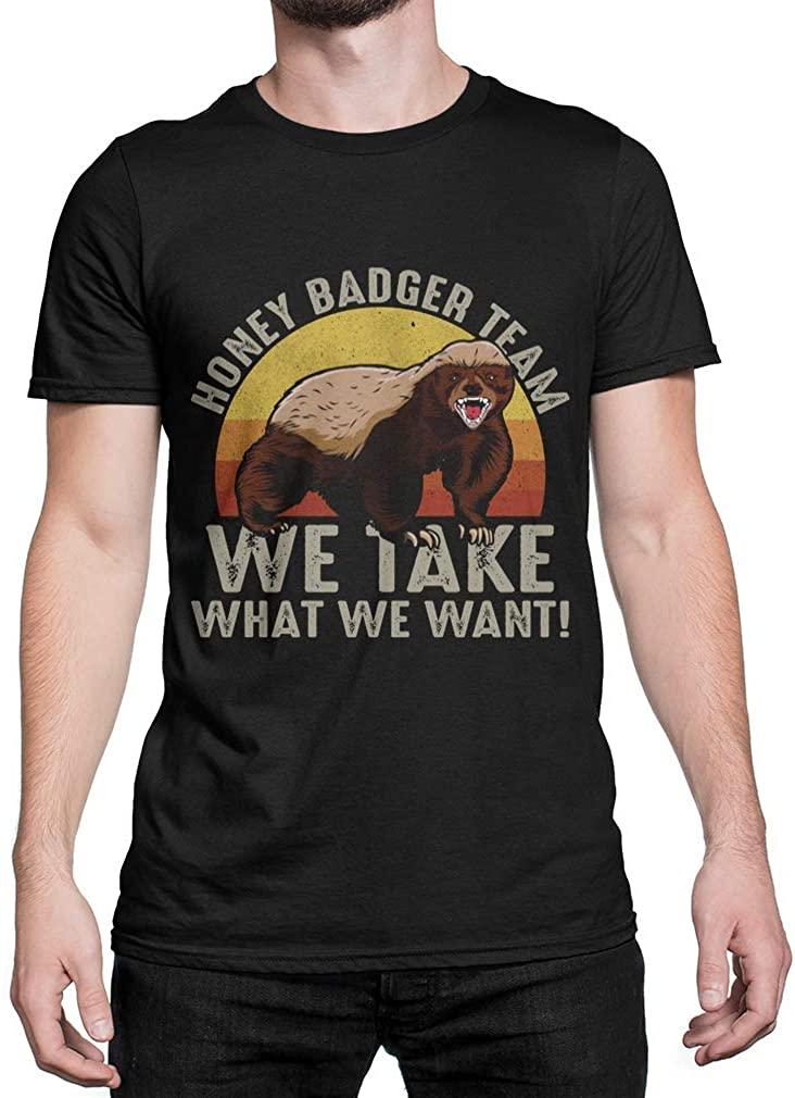 UMACVN T Shirt Retro Vintage Honey Badger Team We Take What We Want Black Cotton Size S-3XL Black Size XL