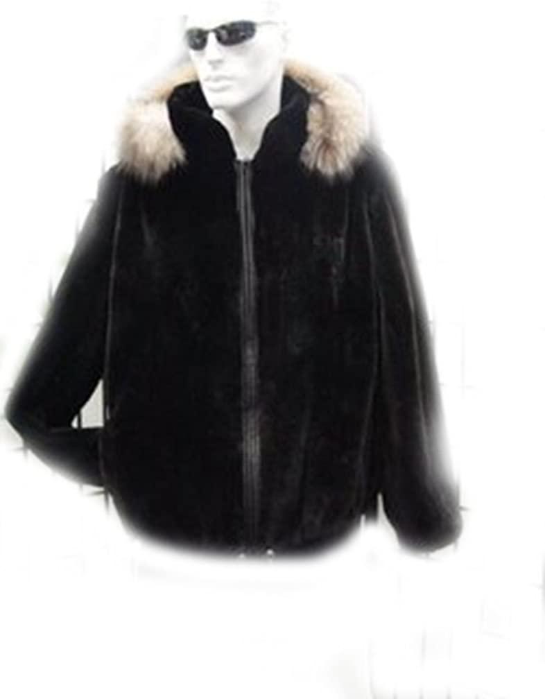 Oliverfurs Black Sheared Beaver & Fox Fur Bomber Jacket Coat W/Hood Man Men Size All