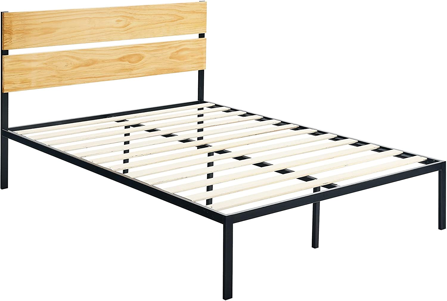 DHgateBasics Arielle Metal and Wood Platform Bed with Headboard - Wood Slat Support, King