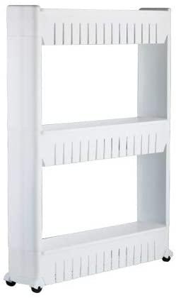 FDJULK84102 2 PCS Multipurpose Shelf With Removable Wheels Crack Rack Storage Rack Shelf Multi-layer Refrigerator Side Shelf(Blue 4 Layers) (Color : White 3 layers)