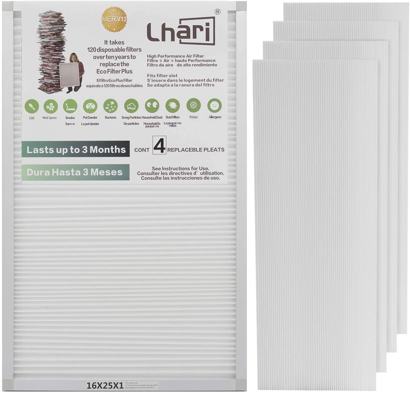 Lhari 16x25x1 MPR1500 Air Filter Repalcement, Allergy Filters MERV 12 AC Furnace Pleated Air Filter, Pet Dander Removal, Pack of 4
