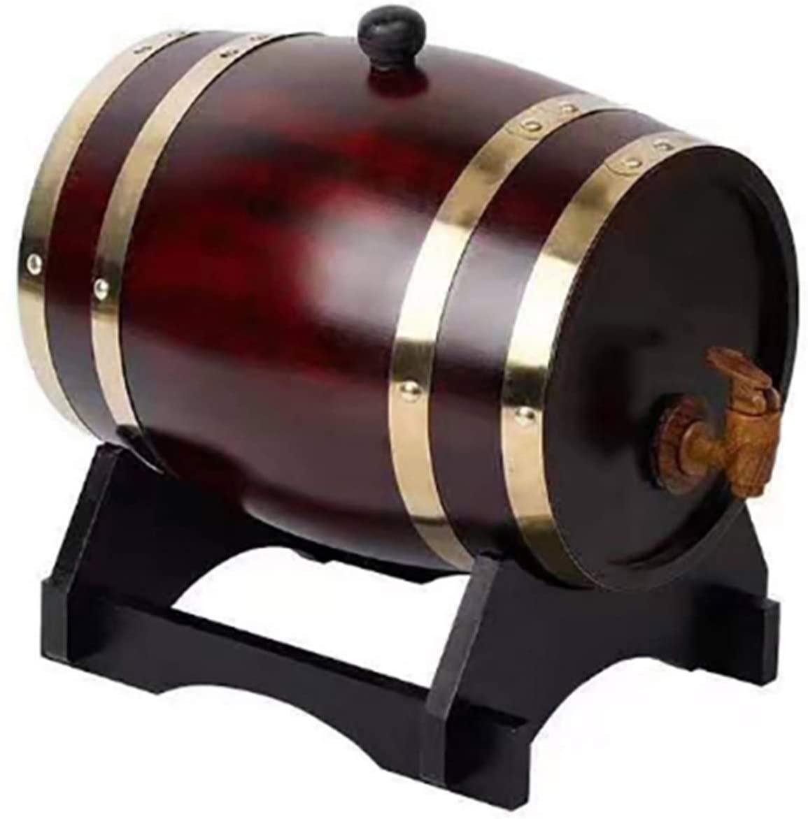 LI&muzi 1.5L Wood Barrel Vintage Beer Brewing Tools Tap Dispenser, for Whisky Wine Mini Keg Bar Home Brew Beer Keg,Color 1