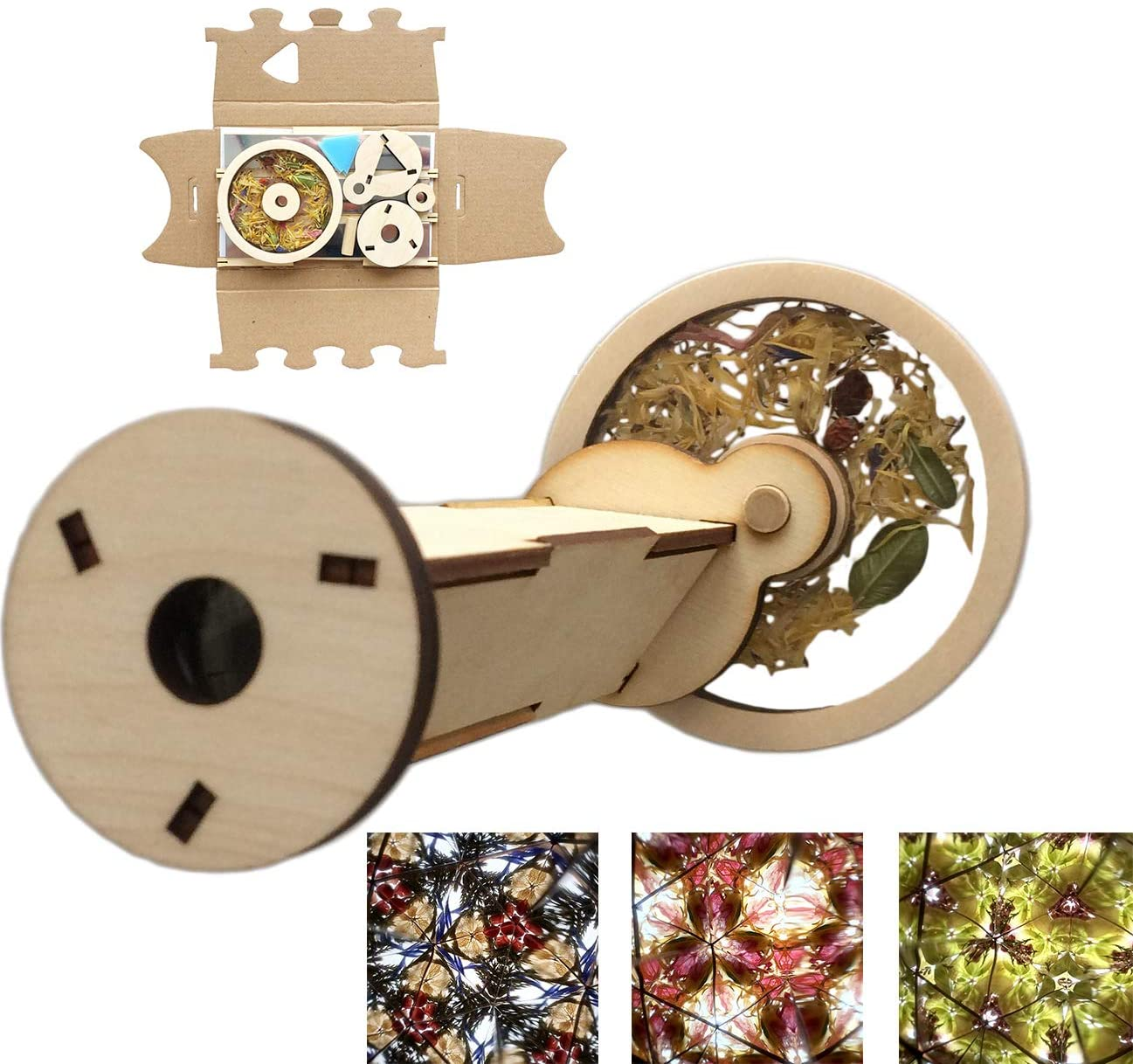 HAPPER STUDIO Wood Kaleidoscope Filled with Flowers, DIY Assembly Kit of 10 Pieces
