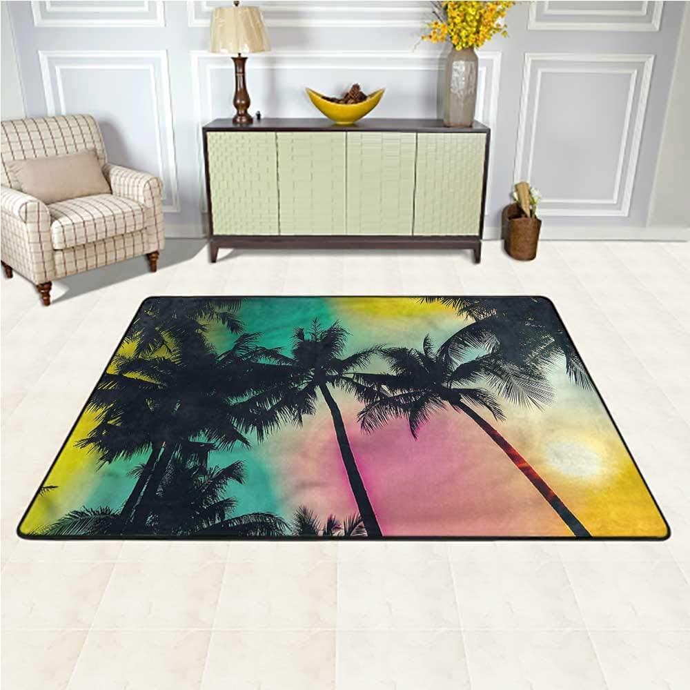 Carpet Palm Tree, Retro Style Blurry Leaves Traditional Non Slip Vintage Carpet Home Bedrooms Floor Decorative 6.5 x 10 Feet