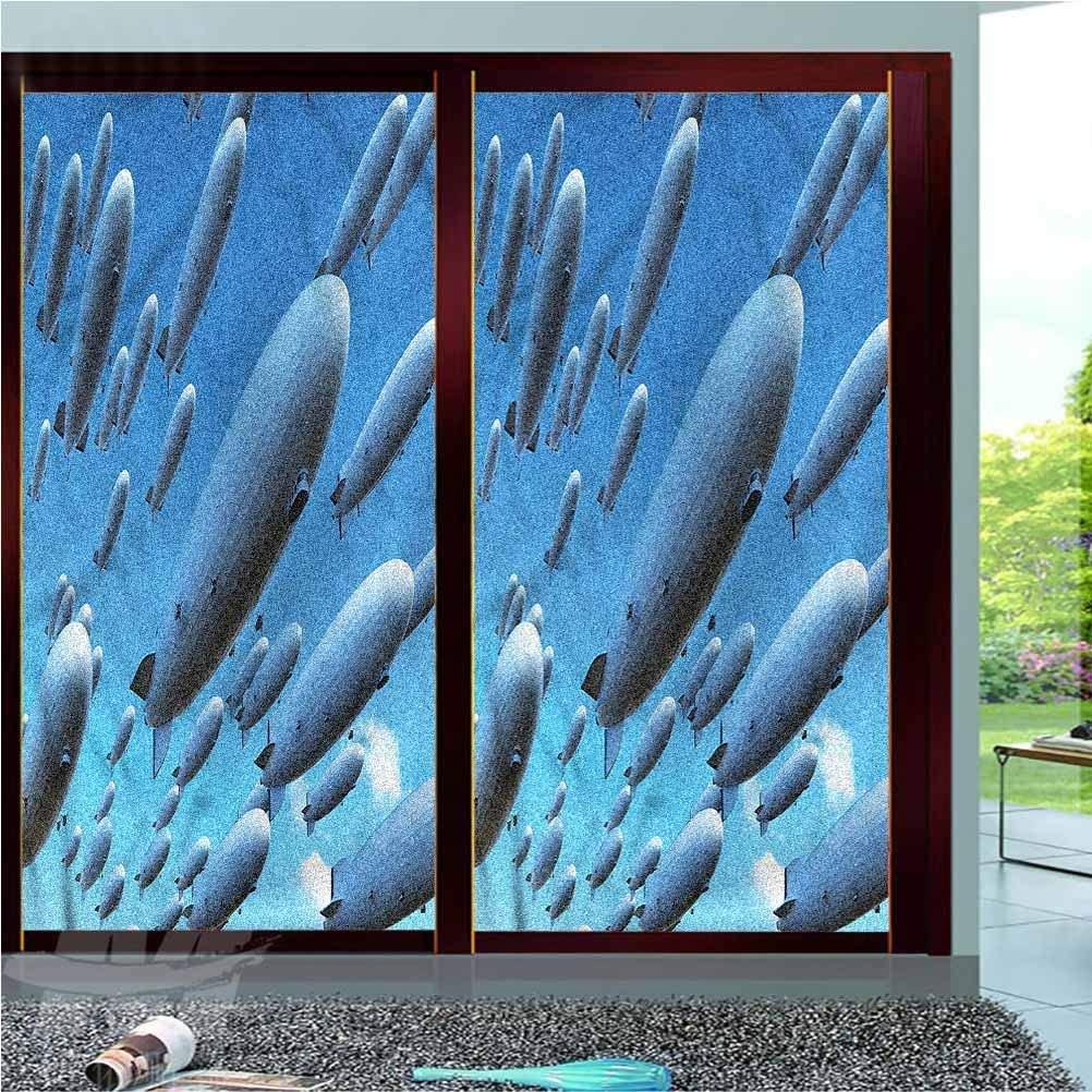 LCGGDB Zeppelin ONE Piece Window Privacy Film Static Window Clings,Sky Aviation Flight Vinyl 3D Window Decals Window Stickers Window Film,23.6
