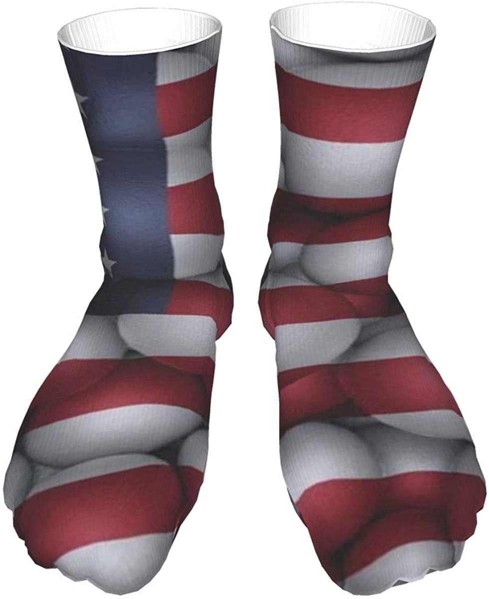 Crew Socks Vintage American Flag Ball Retro Mens Womens Novelty Mid Calf Dress Casual Socks Unisex