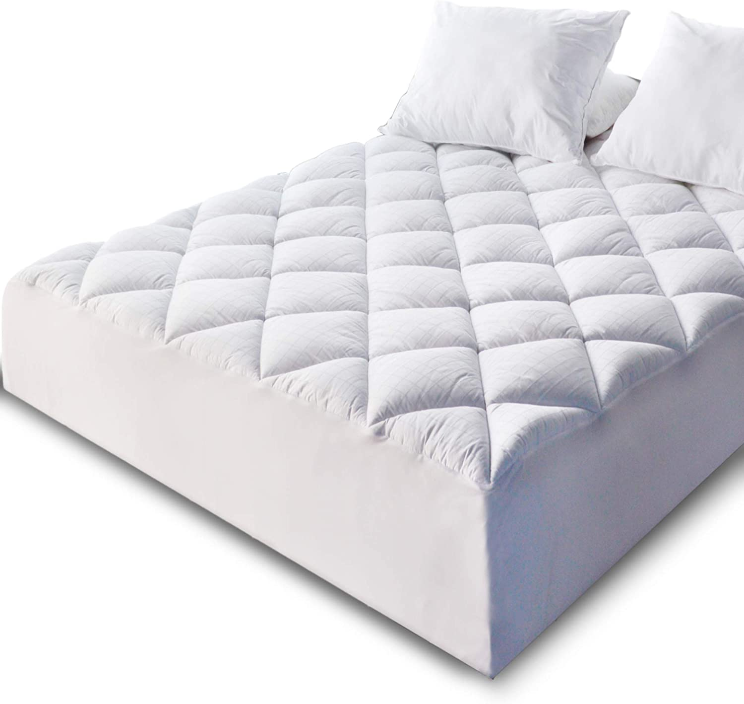 KASENTEX Quilted Fitted Mattress Pad & Protector with 18 Inches Deep Pockets, 300 TC Cotton Jacquard Fabric Front & Down Alternative Fill, Cozy & Ultra Soft – Hypoallergenic, Twin XL 39x80in.