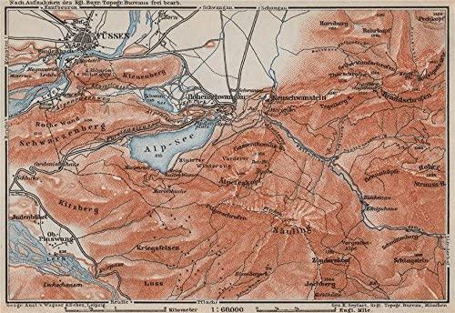 HOHENSCHWANGAU & FÜSSEN environs. Alpsee Deutschland Österreich karte - 1910 - old map - antique map - vintage map - Germany/Austria map s