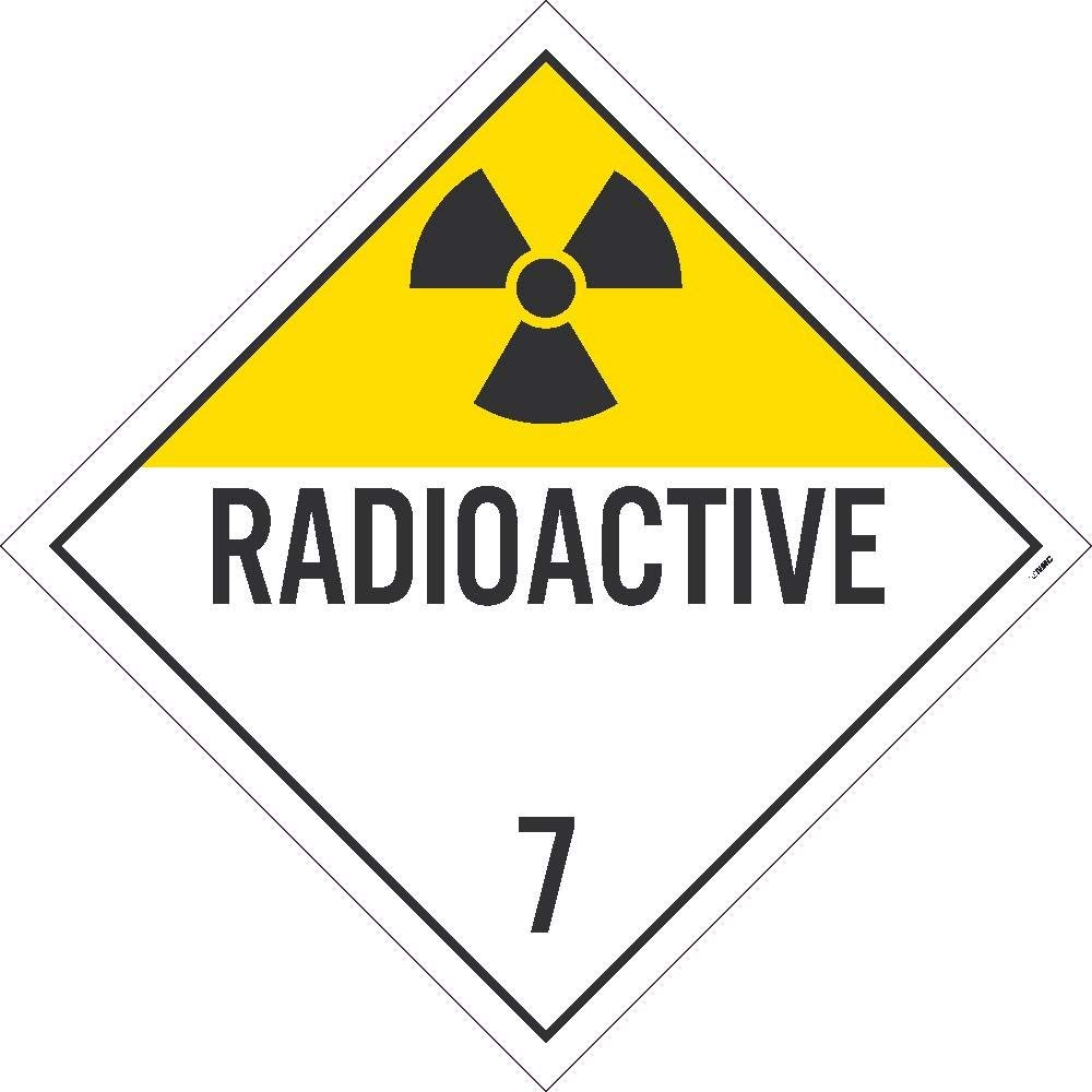 NMC DL16TB25 Radioactive Placard - [Pack of 25] 10.75 in. x 10.75 in. Card Stock Class 7 Dot Placard Sign with Black Text on White Base