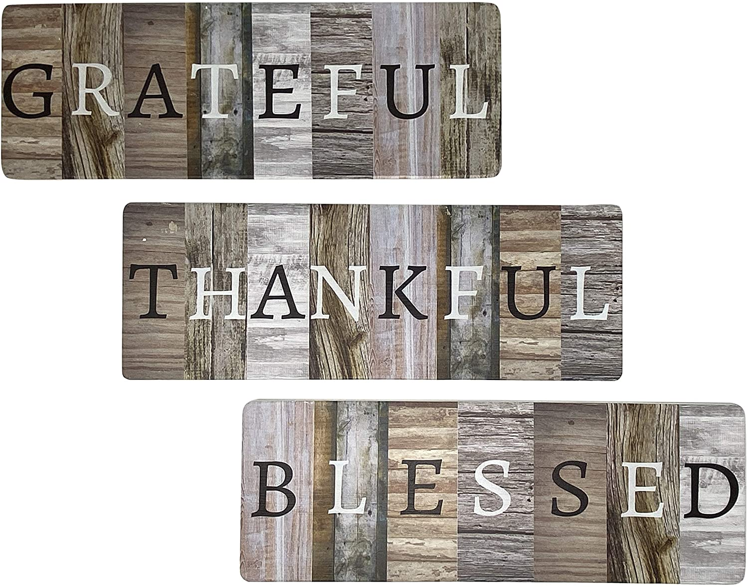"""Chiaravita 3 Piece Grateful Thankful Blessed Rustic Farmhouse Home Decor Sign - Solid Wood 17"""" x 6"""" Inspirational Wall Art Signs for Living Room, Dining Room, Kitchen, Bedroom"""