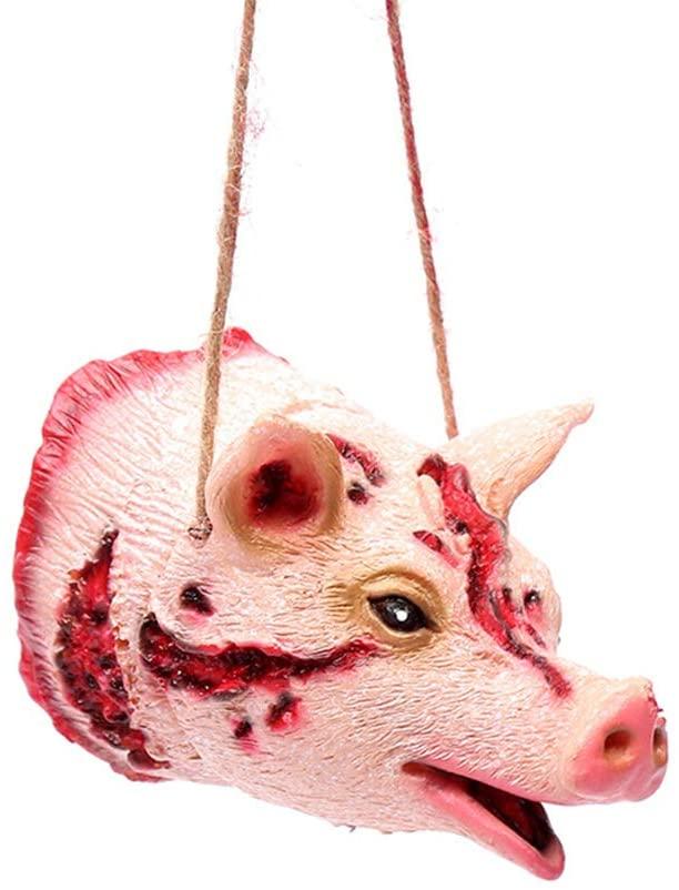 XuBa Tricky Joke Fake Animal Shape Prop Halloween Toy Party Decor Pig Head