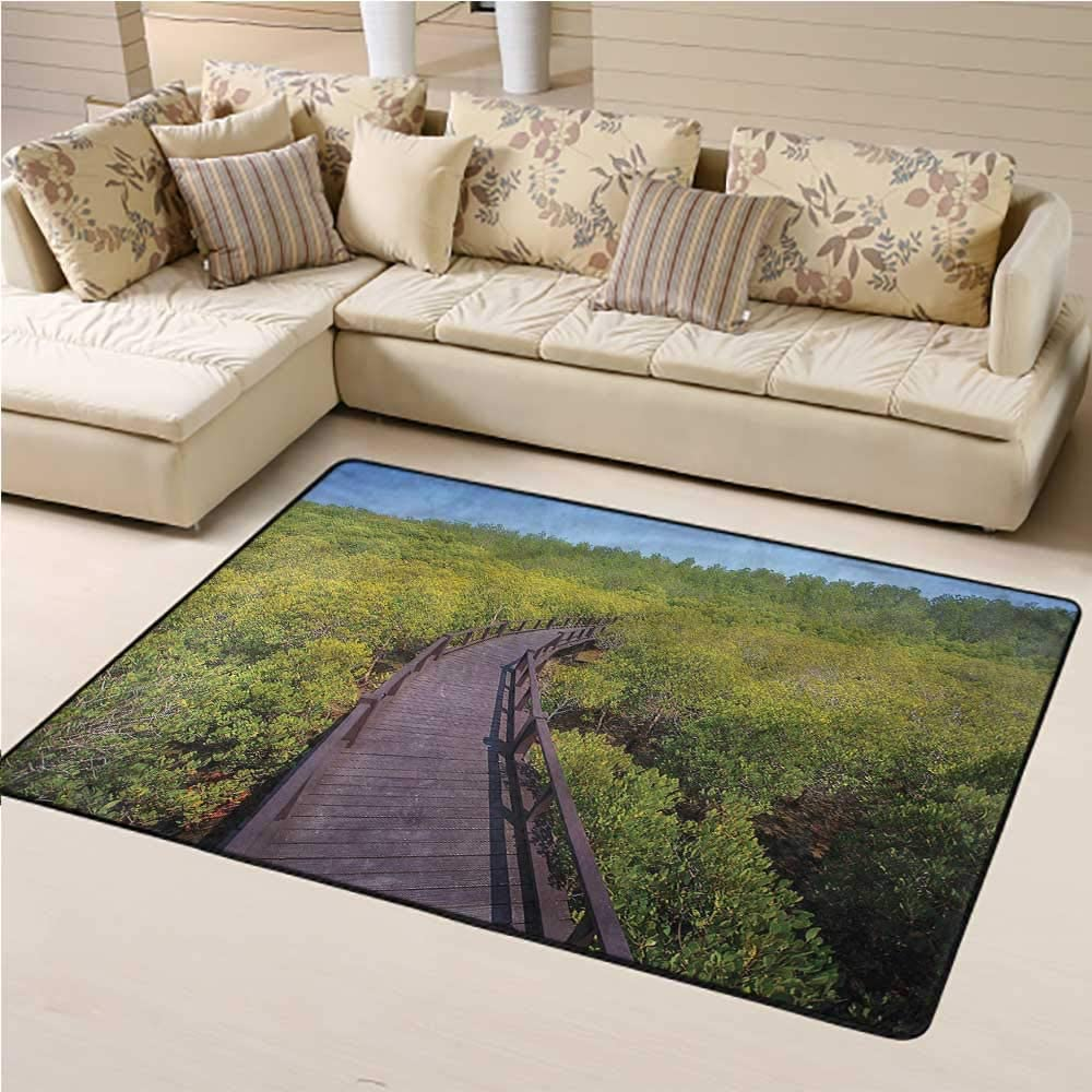 Carpet Jungle, Pathway to Forest Trees Bedroom Entrance Hallway Carpet for Kids Living Room Nursery Home Decor 4 x 6 Feet