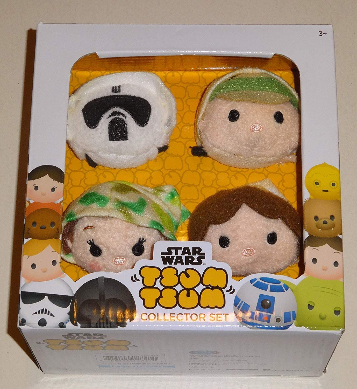 Tsum Tsum Disney Star Wars Plush Collector Set # 3 (4 Pack) Endor/Return of The Jedi ROTJ with Luke Skywalker, Han Solo, Princess Leia & Scout Trooper / Imperial Biker Scout