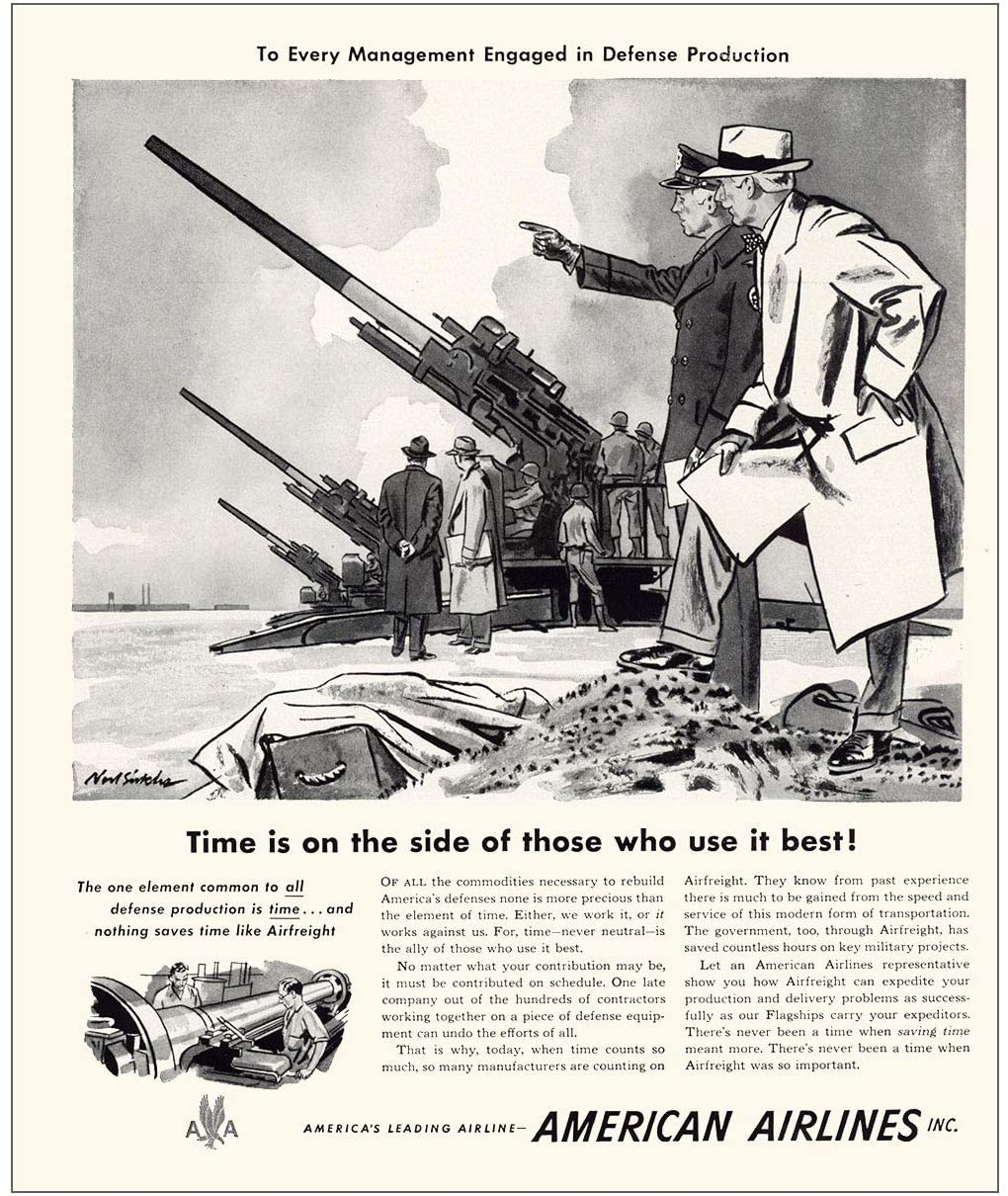 RelicPaper 1951 American Airlines: Time is On The Side, American Airlines Print Ad