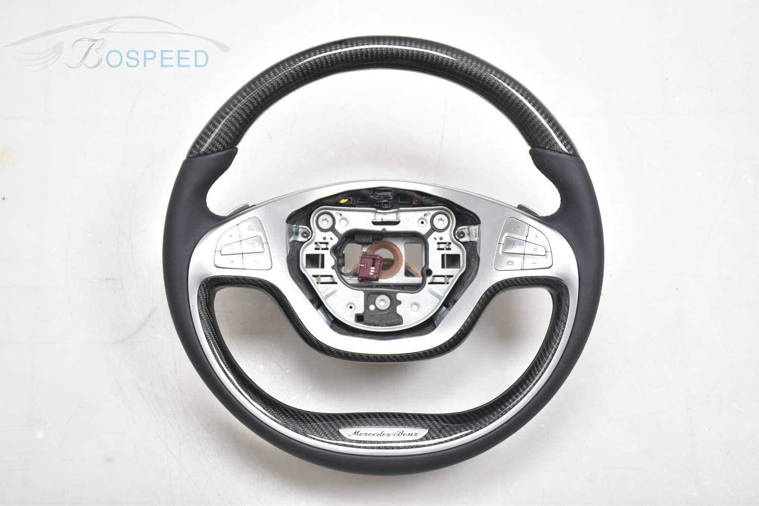 Bospeed Carbon Fiber Black Smooth Leather Round Bottom Special Customized Steering Wheel for Benz S